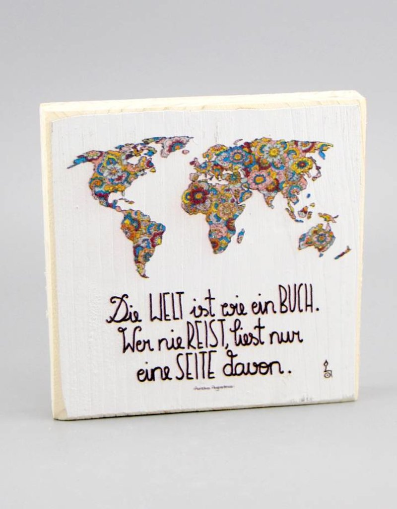 """Holzdruck S """"Die Welt ist ein Buch"""""""