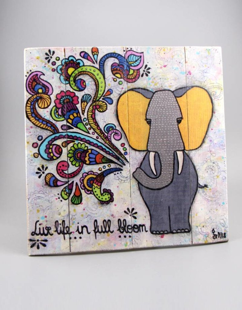 """Printing on wood M """"Live life in full bloom"""""""