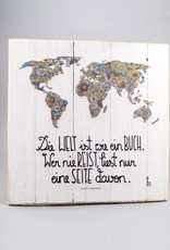 """Holzdruck M """"Die Welt ist ein Buch"""""""