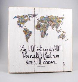 """Printing on wood M """"Die Welt ist ein Buch"""""""