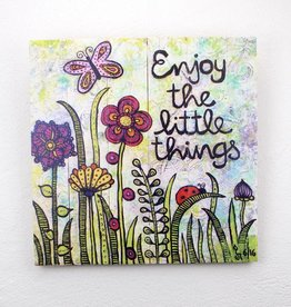 "Printing on wood  L ""Enjoy the little things"""