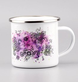 "Emaille Tasse ""Aquarell Lila"""