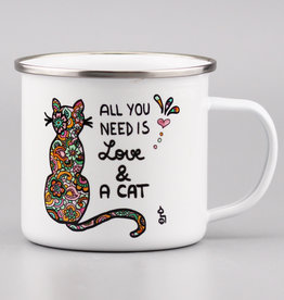 "Emaille Tasse groß ""All you need is... cat"""