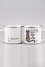 """Emaille Tasse groß """"All you need is... cat"""""""
