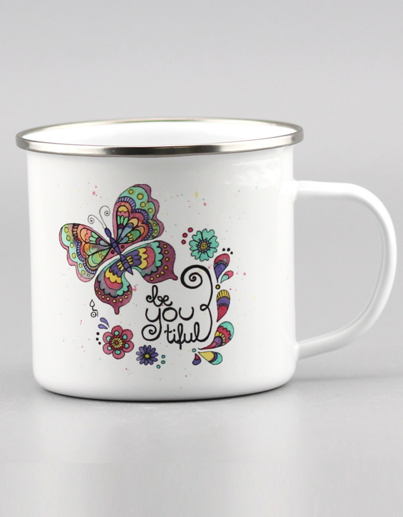 "Emaille Tasse groß ""beYOUtiful"""