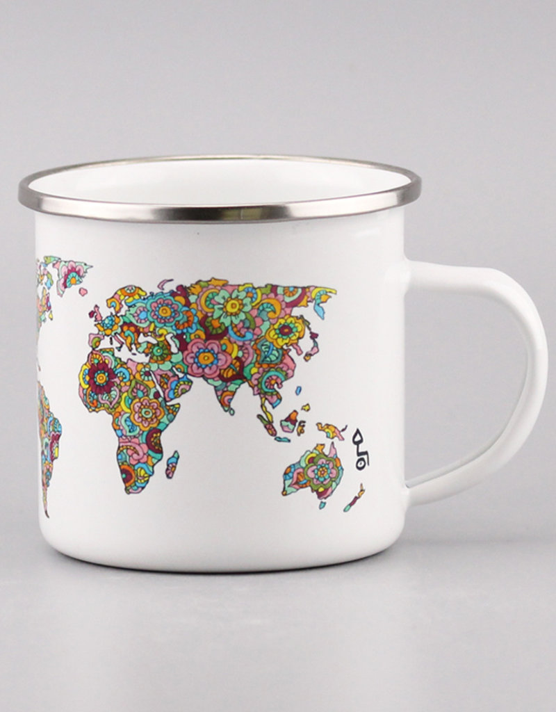"Enamel Mug  big ""Die Welt ist ein Buch"""