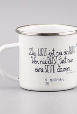 """Emaille Tasse groß """"Die Welt ist ein Buch"""""""
