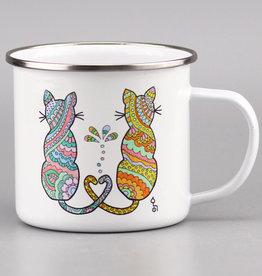 """Emaille Tasse groß """"Catlove"""""""