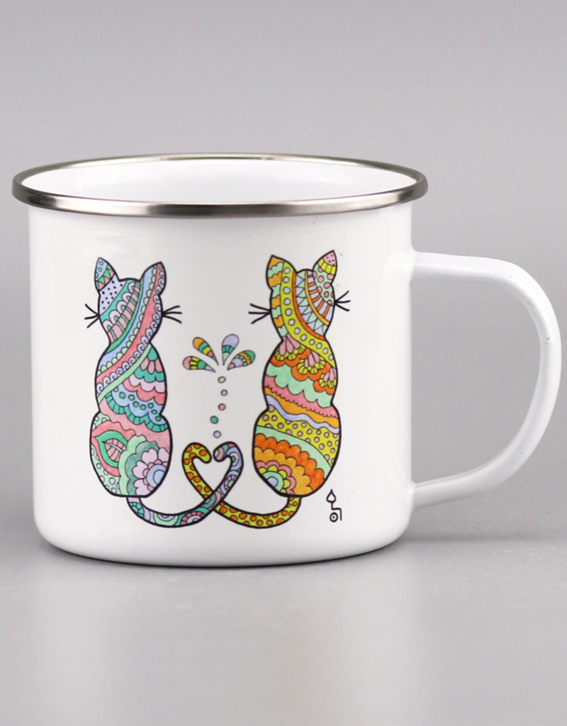 "Enamel Mug  big ""Catlove"""