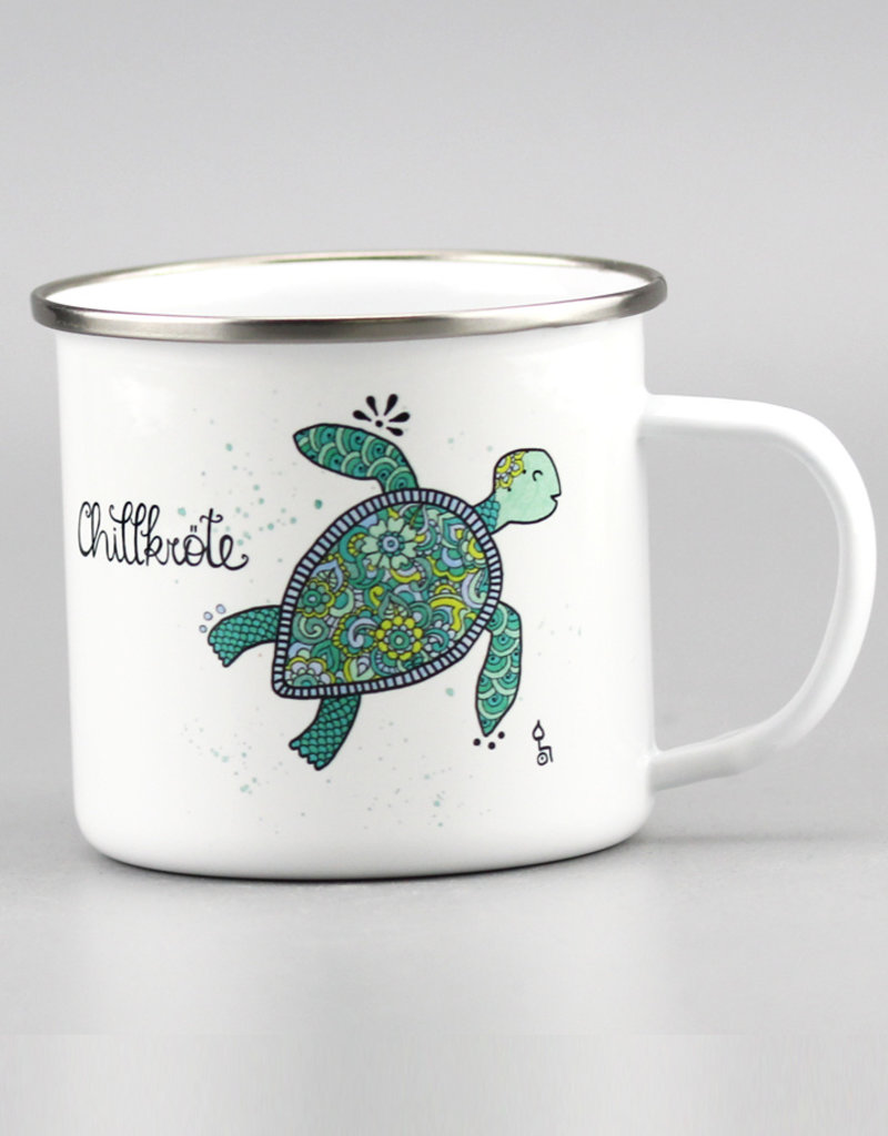 "Emaille Tasse groß ""Chillkröte"""