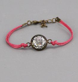 "Cotton bracelet ""Flowers Mehndi"" pink"