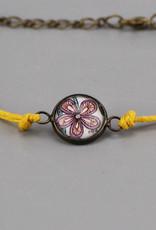 "Cotton bracelet ""Flowers Pantone"" yellow"