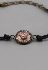"Cotton bracelet ""Flowers Pantone"" black"