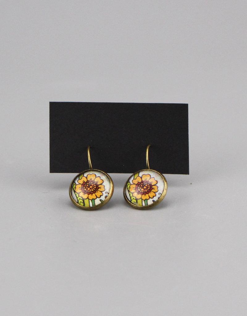 """Hanging earrings  """"Focus on good"""" - orange"""