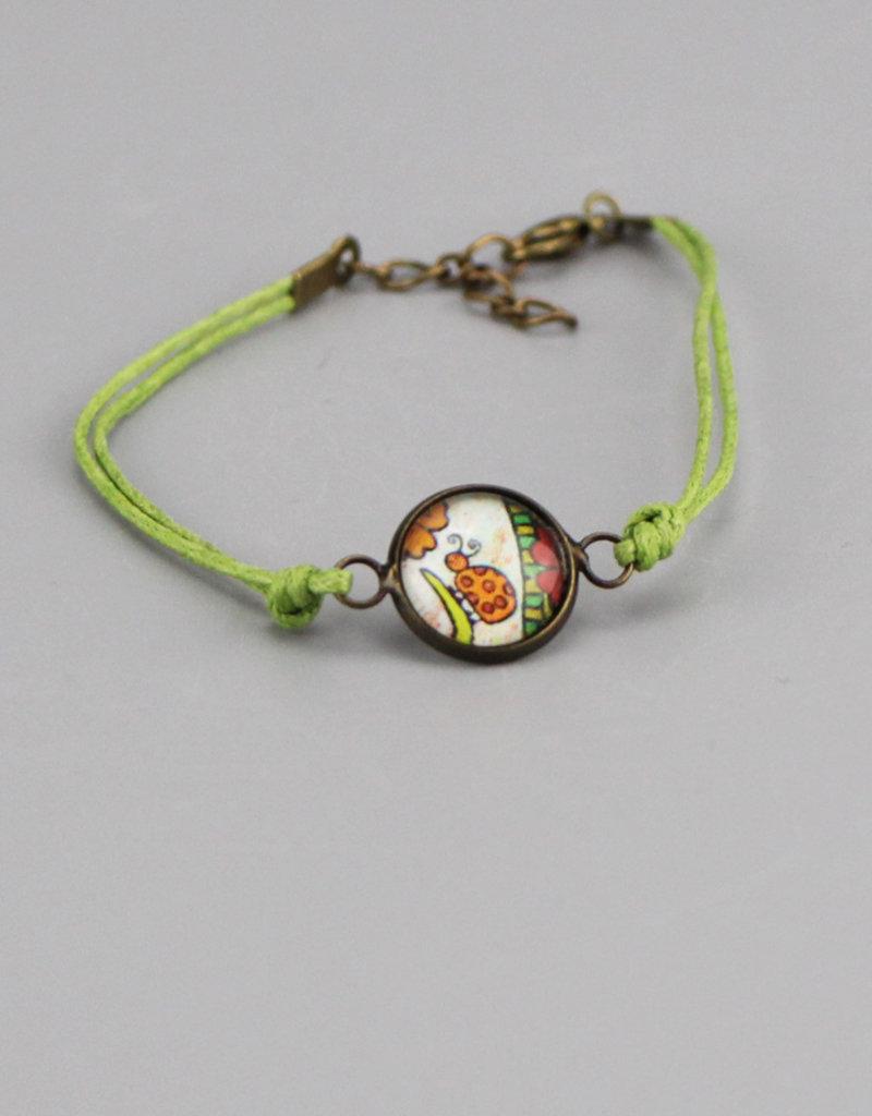 "Cotton bracelet ""Focus on good"" green"