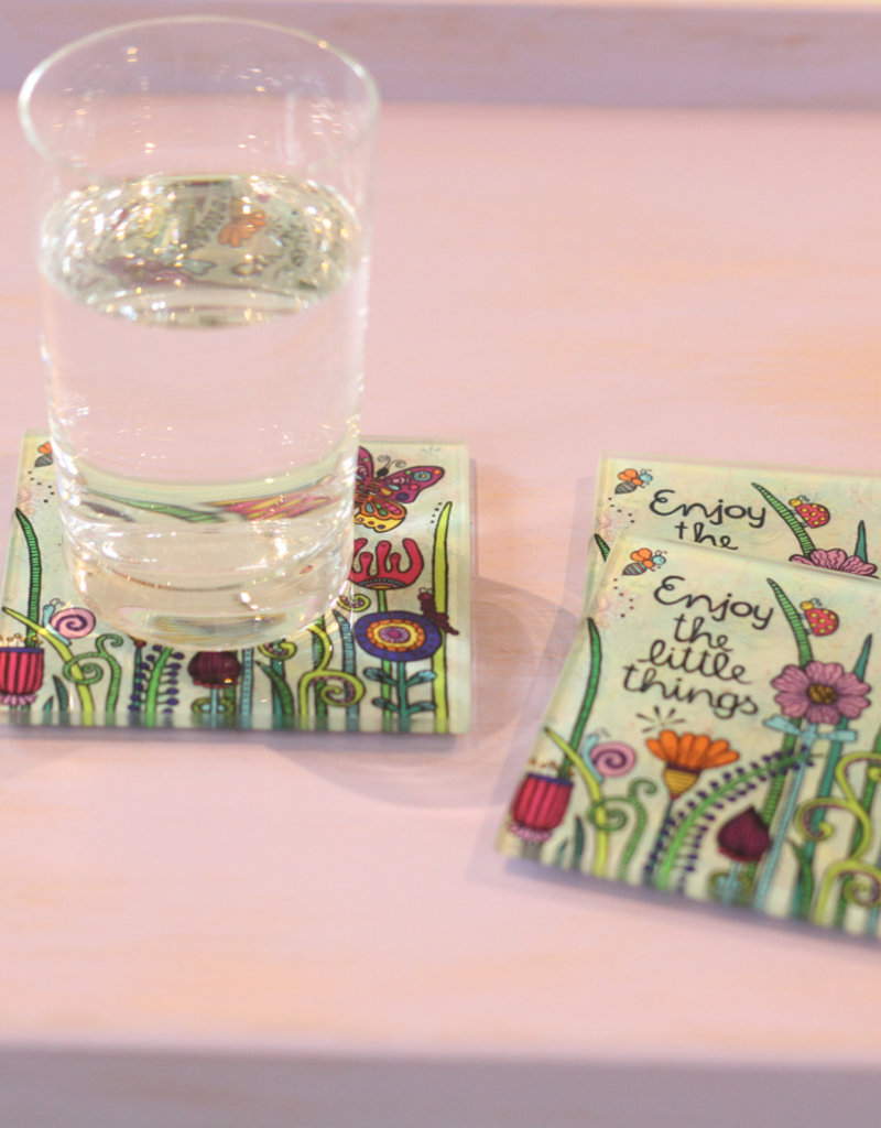 """Glass coaster  """"Enjoy the little things"""""""