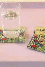 """Glass coaster  """"Flowers V"""""""