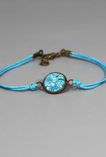 Armband aus Baumwolle - Mehndi Muster blau