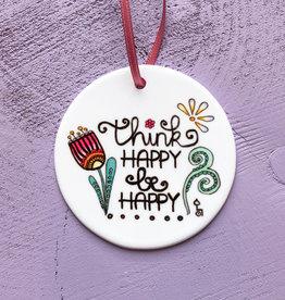 """Ceramic pendant """"Think happy"""""""