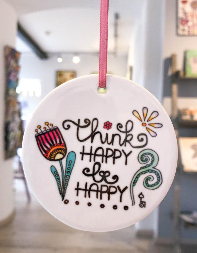 "Keramikhänger ""Think happy"""