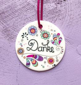"Ceramic pendant ""Thank you"""