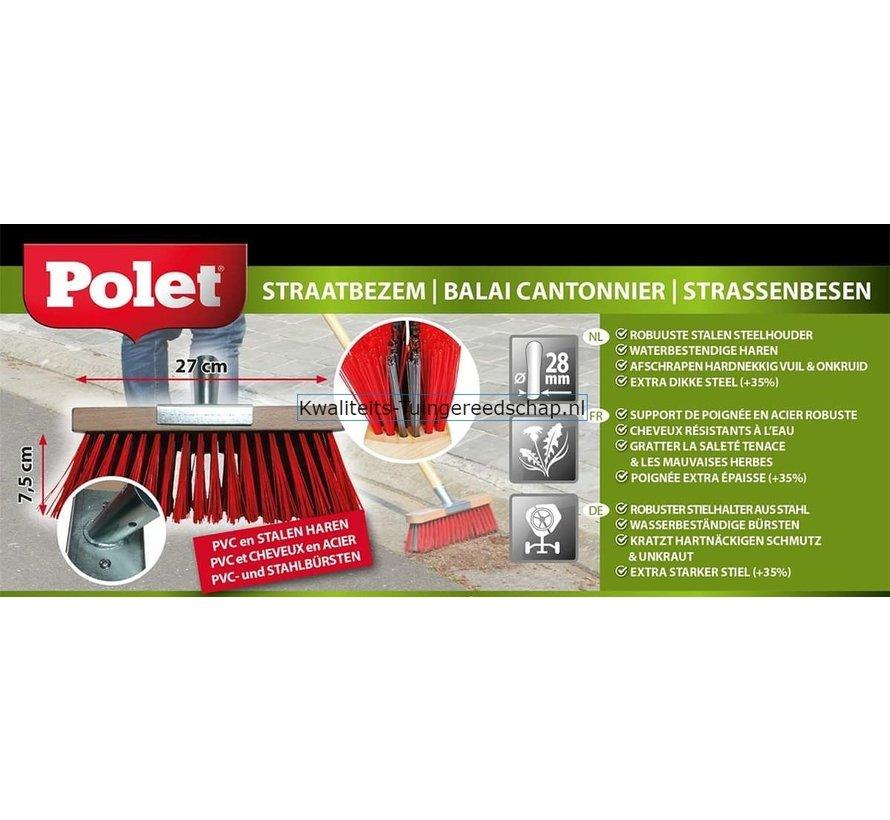 Bezem 270 mm Polypropyleen Rood+Staaldraad 75 mm met Steel