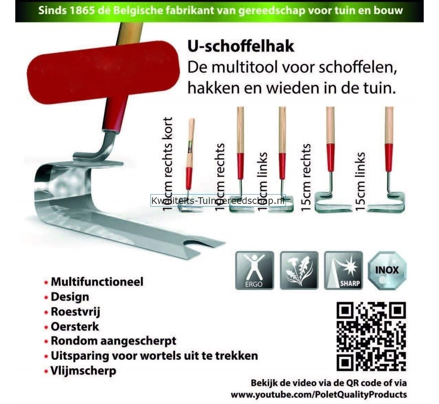 U-Schoffelhak 150mm met steel 1,5m linkshandig
