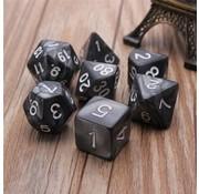 REBL 7-delige Polydice / dobbelstenen Set voor Dungeons & Dragons | Zwart
