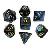 REBL 7-delige Polydice / dobbelstenen Set voor Dungeons & Dragons | Gemêleerd Zwart / Blauw