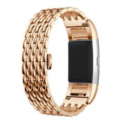 REBL Metalen Dragon Style armband voor Fitbit Charge 2 - Rose Goud