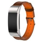 REBL Lederen armband / polsbandje voor Fitbit Charge 2 - Bruin