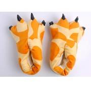 REBL Oranje Leeuwen poot pantoffels - Leuke Leeuwen sloffen passen perfect bij jouw Onesie - One sieze fits most