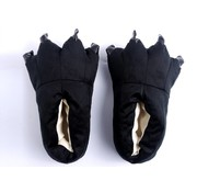 REBL Zwarte poot pantoffels - Leuke Zwarte sloffen passen perfect bij jouw Onesie - One sieze fits most