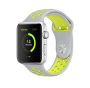 REBL Siliconen Sport + bandje voor de Apple Watch - Grijs / Geel