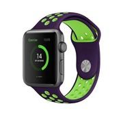 REBL Siliconen Sport + bandje voor de Apple Watch - Paars / Groen