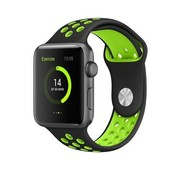 REBL Siliconen Sport + bandje voor de Apple Watch - Zwart / Groen