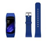 REBL Siliconen polsbandje voor de Samsung Gear Fit 2 SM-R360 met gespsluiting  - Donkerblauw