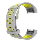 REBL Siliconen Sport polsbandje voor de Fitbit Charge 2  Maat S - Grijs/Geel