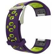 REBL Siliconen Sport polsbandje voor de Fitbit Charge 2  Maat S - Paars/Groen