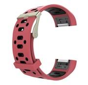 REBL Siliconen Sport polsbandje voor de Fitbit Charge 2  Maat S - Rood/Zwart