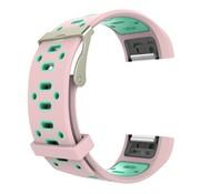 REBL Siliconen Sport polsbandje voor de Fitbit Charge 2  Maat S - Roze/Mint
