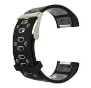 REBL Siliconen Sport polsbandje voor de Fitbit Charge 2  Maat S - Zwart/Grijs