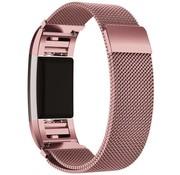 REBL Fitbit Charge 2 Milanese Horloge Bandje met magneetsluiting - Maat M - Roze