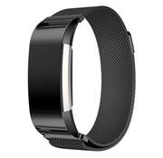 REBL Fitbit Charge 2 Milanese Horloge Bandje met magneetsluiting - Zwart