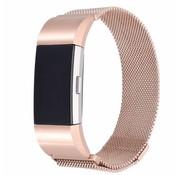 REBL Fitbit Charge 2 Milanese Horloge Bandje met magneetsluiting - Rose Goud