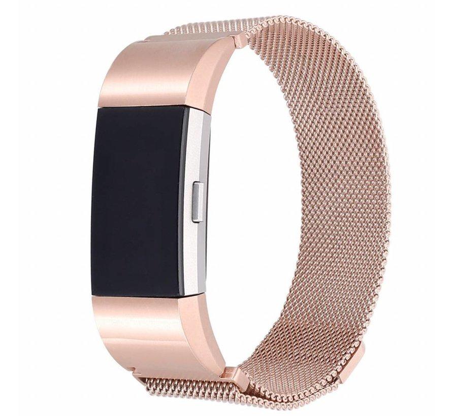 Fitbit Charge 2 Milanese Horloge Bandje met magneetsluiting - Rose Goud