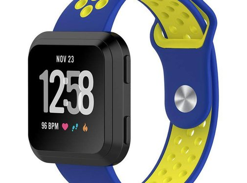 REBL Fitbit Versa bandje - Blauw / Geel