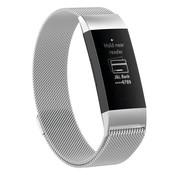 REBL Milanees Polsbandje - Fitbit Charge 3 - Zilverkleurig