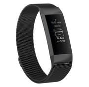 REBL Milanees Polsbandje - Fitbit Charge 3 - Zwart