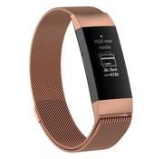 REBL Milanees Polsbandje - Fitbit Charge 3 - Rose Goudkleurig